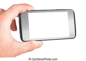 Modern mobile phone in hand isolated on white background