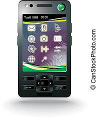 modern mobile phone with background - vector illustration