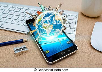 Modern mobile phone with digital world landmarks
