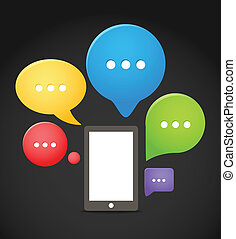 Modern mobile phone with group of color speech clouds