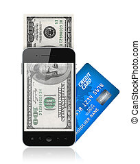 Modern mobile phone with hundred dollar bills on a screen and with credit card. Mobile payment concept. Isolated on white.