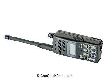 Modern mobile radio lying on the right side isolated on a white background.