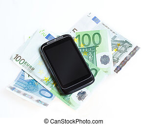 Modern mobile smart phone and euro banknotes