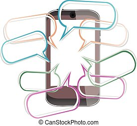 Modern mobile smart phone with speech bubbles vector illustration