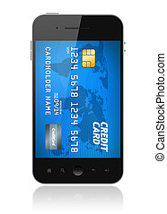 Mobile payment - Modern mobile smartphone with credit card...