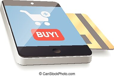 Modern mobile smartphone with credit card. vector