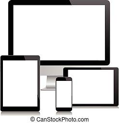 Modern monitor, computer, laptop, p