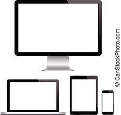Modern monitor, computer, laptop, phone, tablet on a white background vector eps 10
