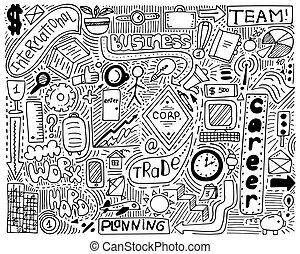 Modern monochrome doodle poster for business. It is great for notebook, typographic poster or wall design.