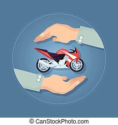 Modern Motorbike Insurance, Service Company Logo. - Black...