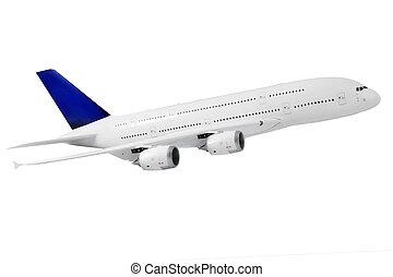 modern, motorflugzeug, auf, white.