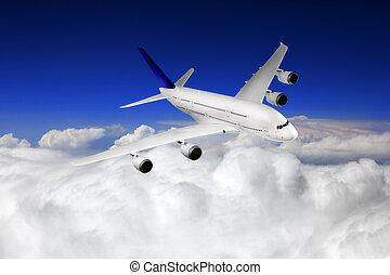 modern, motorflugzeug, in, der, himmelsgewölbe, bei,...