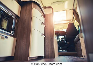 Modern Motorhome Interior. Elegant Materials and Finishing. ...