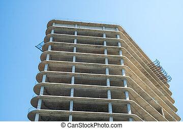 Modern multi-storey building. Construction of multi-storey building