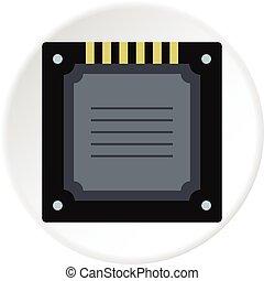 Modern multicore CPU icon circle