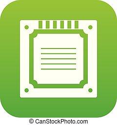 Modern multicore CPU icon digital green