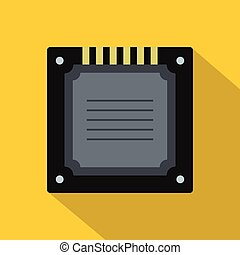 Modern multicore CPU icon, flat style