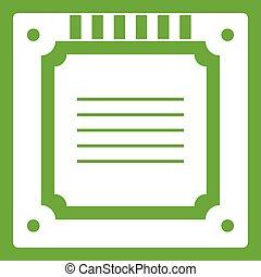Modern multicore CPU icon green