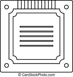 Modern multicore CPU icon outline