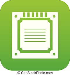 modern, multicore, grün, digital, cpu, ikone