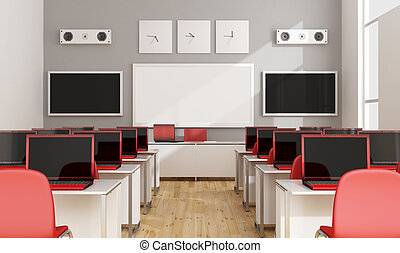 Modern multimedia classroom - Multimedia classroom with red...