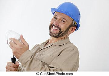 modern, munkás, hajcsavaró, áll, szobafestő, boldog