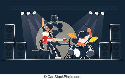 Modern music band shows a concert on a dark stage in the bright rays. A pretty girl guitarist with a red electric guitar and a mad drummer play rock, indie or alternative instrumental music.