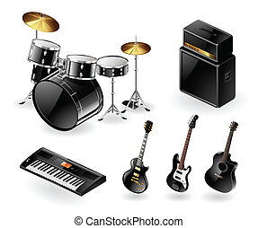 Modern musical instruments - Vector set of modern electric...