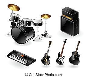 Modern musical instruments - Vector set of modern electric...