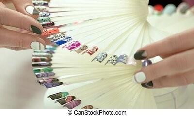Modern nail art samples, woman hands. Collection of nail...