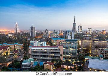 Modern Nairobi cityscape - capital city of Kenya, East Africa