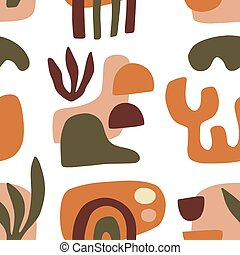 Modern Natural Abstractions seamless pattern. Minimal trendy collage with organic shapes. Earthy colors. Brochure, poster background, branding design. Vector illustration