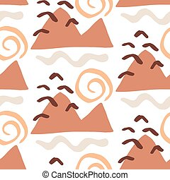 Modern Natural Abstractions seamless pattern with mountains. Collage with organic shapes. Earthy colors. Brochures, posters backgrounds, branding design. Vector design