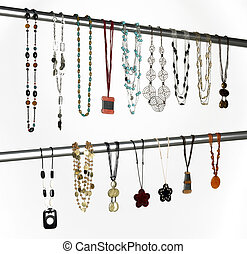 Modern necklaces hanged on a metallic tube