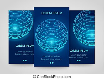 Modern network vertical banners, Global sphere sign, 3d neon