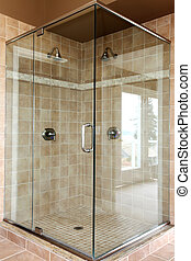Modern new glass walk in shower with beige tiles. - Modern ...