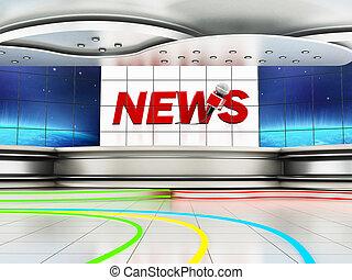 Modern news studio with large TV screens. 3D illustration