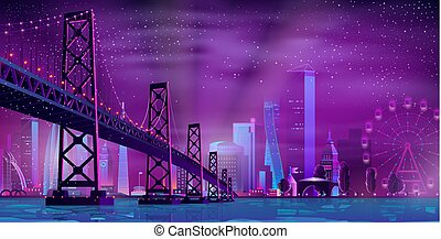 Modern night city cartoon vector urban background