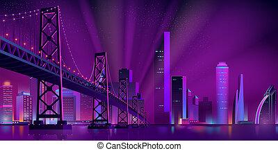 Modern night city landscape background