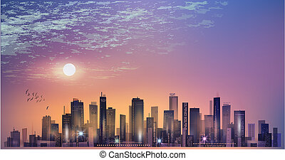 Modern night city panorama in moonlight or sunset and cloudy sky
