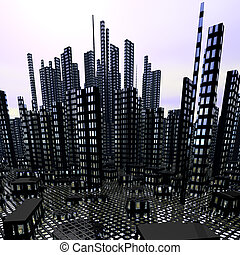 modern night city with skyscrapers - modern night city