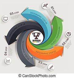 modern, nyíl, ügy, template., vektor, illustration., konzerv, lenni, használt, helyett, workflow, alaprajz, ábra, szám, opciók, szövedék tervezés, infographics, és, timeline.