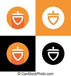 Modern oak acorn logo icon design, flat design style