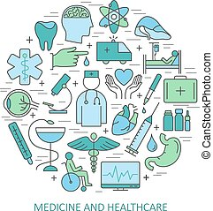 Modern of thin linear concept on a theme medicine and Health symbols. High quality vector logos for modern concepts. Flat design style concept of medicine and healthcare.