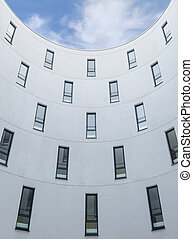 Modern office building design concrete wall and windows ...