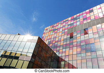 modern office  building exterior and skyline