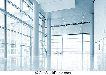 modern office building hall interior of urban city