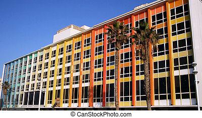Modern office building on blue sky background in Tel-Aviv, ...