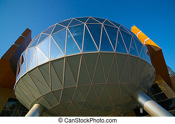 office building with glass sphere