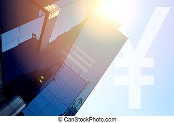 Modern office building with sign CNY on a background of the ...